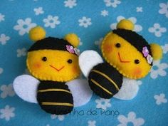 lots of cute little animals in felt hair clips, felt crafts, little gifts, bumble bees, little animals, art projects, honey bees, baby bee, felt animals