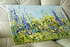 Items similar to Large Original Oil Paintings Side by Side Diptych o Canvas Flowers Landscape Field Wild Flowers Lupine Blue Turquoise Violet Pink Yellow Art on Etsy Small Canvas Paintings, Simple Acrylic Paintings, Canvas Art, Oil Paintings, Summer Painting, Art Storage, Flower Landscape, Yellow Art, Artist Art