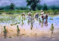 Direk Kingnok Watercolor artist Farming season 3 Before the rains 35 x 50 cm. Watercolor Artwork, Watercolor Sketch, Watercolor Artists, Gouache Painting, Watercolor Portraits, Watercolor Landscape, Artist Painting, Landscape Paintings, Landscape Pencil Drawings