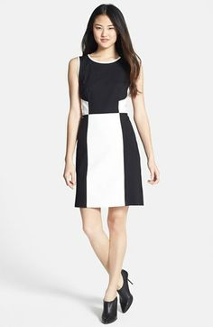 DKNYC Colorblock Faux Leather & Ponte Dress available at #Nordstrom