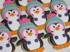 Winter Penguins Decorated Sugar Cookies by MartaIngros on Etsy, $30.00