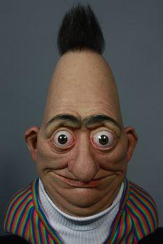 Nacho Diaz made this incredibly creepy real life version of Bert of Sesame Street. Bert & Ernie, Cartoon Art, Cartoon Characters, Living Puppets, Piano Jazz, Scary, Creepy, Realistic Cartoons, Jean Reno