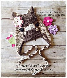 PONY HORSE Crochet Hat Earflap Pattern Size Newborn to Adult Boutique Design - No. 54 by AngelsChest