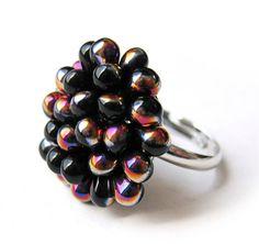 Black Berry Cluster Ring Limited Edition Sliperit Jet by Kirameku