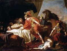 Achilles deposits the body of Hector at the foot of the body of Patroclus. Joseph Benoit Suvee. French. 1743-1807