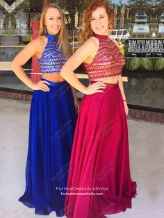 Long Prom Dresses Two Piece, 2018 Formal Dresses A-line, High Neck Chiffon Party Dresses Beading, Sexy Evening Gowns Modest Prom Dresses Long Modest, Cute Formal Dresses, Prom Dresses Two Piece, Prom Dresses For Teens, Best Prom Dresses, Plus Size Prom Dresses, Beautiful Prom Dresses, Cheap Prom Dresses, Prom Party Dresses