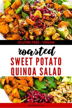 If you love meals that leave the whole family happy, you are going to love this Roasted Sweet Potato Quinoa Salad. This healthy gluten free recipe is so ridiculously full of flavor. I am so happy that I found this deliciously easy meal. Gluten Free Quinoa Salad, Vegetarian Salad Recipes, Healthy Gluten Free Recipes, Healthy Food, Vegan Recipes, Bacon Recipes, Easy High Protein Meals, Quick Meals, Sweet Potato Quinoa Salad