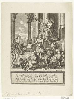 Salomon Savery | Allegorische titelprent voor Vondels Palamedes, 1625, Salomon Savery, Joost van den Vondel, 1623 - 1625 | Allegorische titelprent voor Vondels treurspel Palamedes, 1625. Staande oude man lijkend op Johan van Oldenbarnevelt met een privilege in de hand, omringd door allerlei woeste dieren. Rechts Themis (godin van de Rechtvaardigheid) die een lauwerkrans boven het hoofd van de man houdt. Onder de voorstelling een cartouche met vers van 4 regels in het Nederlands. Book Authors, Books, Vintage World Maps, Literature, Painting, Fairy, Literatura, Libros, Painting Art
