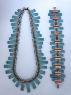 Matisse Renoir Copper & Aqua Enamel Necklace & Bracelet Set
