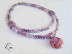 "Purple strands and jasper necklace - Necklace length 45 cm (17.7''), pendant diameter 2.5cm (1''). Diameter 0.7cm (0.27"")"