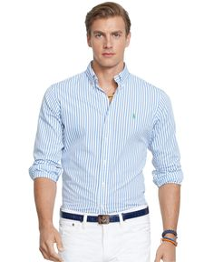 Polo Ralph Lauren Men's Long Sleeve Striped Poplin Shirt - Casual  Button-Down Shirts - Men - Macy's