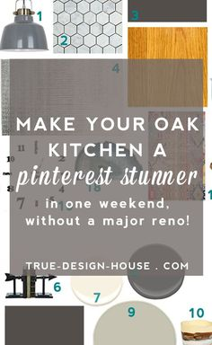 Remodel The Best Wall Paint Colors To Go With Honey Oak — True Design House Reduce Remodeling Stress Kitchen Colour Schemes, Kitchen Paint Colors, Wall Paint Colors, Paint Colors For Home, Best Kitchen Colors, Gray Paint, House Colors, Color Schemes, Honey Oak Cabinets