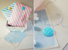 bitty bags with twine and covered buttons by Lauren Donaldson