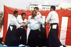 Rev. Kensho Furuya demonstrating yonnin gake randori in the mid 90s.  Ukes: Ken Furuya, James Doi, William Gillespie, and Ken Watanabe