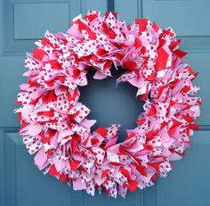 Items similar to Valentine's Day Red Pink White Fabric Wreath on Etsy Rag Wreaths, Deco Mesh Wreaths, Fabric Wreath, Burlap Wreath, Red And Pink, Pink White, How To Make Wreaths, White Fabrics, 4th Of July Wreath