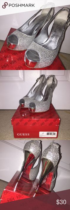 Silver sparkly heels Worn twice for prom, size 8.5 Guess Shoes Heels