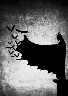 Batman The Dark Knight Illustrations by Uvin Gunasena, via Behance small bats fly from bat mans outstretched wing black white photography 2014 Batman Hq, Batman Arkham City, Batman Arkham Knight, Batman Logo, Batman Robin, Gotham City, Batman Wallpaper, Batman The Dark Knight, Comic Art