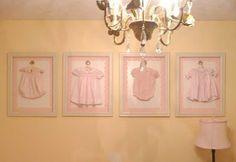 Framed vintage clothing nursery