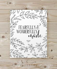 Nursery Bible Verse Art Print, Scripture Art, Christian Wall Decor, Inspirational Wall Art, Fearfully and Wonderfully Made Psalm 139:14 by SpoonLily on Etsy