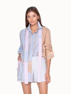 Akris® Official – Long Tunic Blouse with Shirt Collar Tunic Blouse, Shirt Dress, Pastel Colors, Rain Jacket, Cover Up, Beige, Pink Yellow, Stylish, Cotton