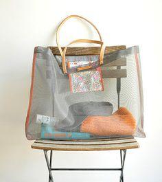 Project 34. Mesh screen + fabric = beach bag • DIY project by Pascale Mestdagh, via design*sponge