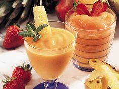 Pineapple-Orange Colada  1 1/2 cups fresh pineapple chunks or 1 can(20 ounces) pineapple chunks in juice, drained  1/2cup frozen piña colada concentrate or Pineapple juice  2cups orange sherbet