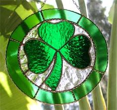 "Irish Shamrock Stained Glass Suncatcher - 9"" - $34.95--- Celtic Designs, Irish Designs, Irish Sun Catchers - Glass Suncatchers, Stained Glass Décor, Stained Glass Sun Catchers -  Stained Glass Design - See more stained glass designs at www.AccentonGlass.com"