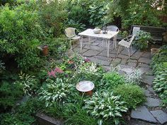 a shady, lush, little patio
