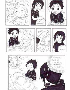Itachi babysitting Baby Sasuke & Baby Naruto, Baby Naruto cries and Baby Sasuke gives him his pacifier and comforts him ❤️❤️❤️❤️ So cute! Naruto Vs Sasuke, Naruto Comic, Baby Sasuke, Naruto And Sasuke Wallpaper, Naruto Sasuke Sakura, Naruto Cute, Naruto Shippuden Anime, Boruto, Naruko Uzumaki