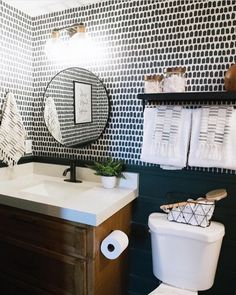 Modern small powder room interior with removable wallpaper accent wall, dark green paint, gold and mid century decor accent wall Mid Mod Farmhouse Style Bathroom Interior Bathroom Accent Wall, Bathroom Accents, Small Bathroom, Living Room Wallpaper Accent Wall, Master Bathroom, White Bathroom, Powder Room Wallpaper, Of Wallpaper, Modern Wallpaper
