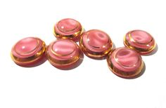 Pink Moonglow Glass Shankless Buttons West Germany VINTAGE Pink Gold Luster Buttons Six (6) Vintage Buttons Jewelry Sewing Supplies (T82) by punksrus on Etsy