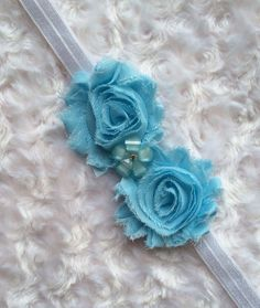 Baby Blue Shabby Chic Flower Headband, Baby Headband, Toddler Headband, Girls Headband, Headband, Hair Accessory,  by BandsForBabes, $7.00