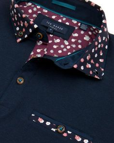 Printed collar polo shirt - Navy | Tops & T-shirts | Ted Baker UK:
