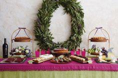 bay leaf wreath & dessert buffet #christmas #camillestyles