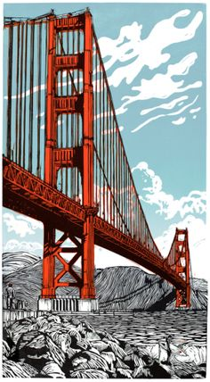 """Eric's iconic """"Golden Boy"""" linocut to commemorate the final voyage of the Endeavour on September as took its final flight across the Golden Gate Bridge. Linocut Prints, Art Prints, Block Prints, Linoprint, Design Graphique, Wood Engraving, Tampons, Gravure, Woodblock Print"""