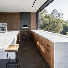"""Oak Pass House Walker Workshop @noah_walker Image: Joe Fletcher @joefletcherphoto  #kitchen #kitchendesign #marble #marblebench #architecture #archidaily…"""