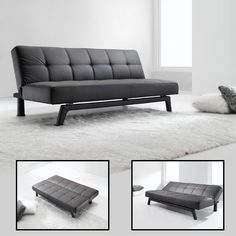 Futon Sofa Bed Convertible Couch Loveseat Sleeper Lounge w/ Pillow (Black). Futon converts quickly and easily into a lounger and sleeper. This luxury sofa bed is made of faux leather with detailed stitching and it is easy for you to wipe clean. Cheap Sofa Beds, Cheap Sofas, Sofa Set Designs, Sofa Bed Price, Futon Sofa Bed, Futon Mattress, Faux Leather Sofa, Where To Buy Bedding, Sofa Furniture