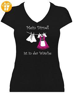 Fabulous Fun Shirt Damen Spr che Glitzeraufdruck Oktoberfest Wiesn Mein Dirndl ist in der W sche pink T