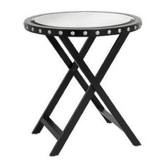 F110 - Round Mirrored Top Table with Silver Studs - Black