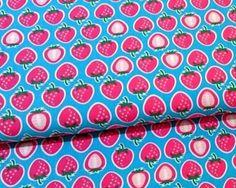 Popeline Hamburger Liebe Yummy Strawberry türkis von PinkPeppa auf DaWanda.com