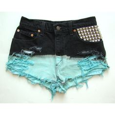 Vtg High Waisted Dip Dyed Studded Shorts ($50) ❤ liked on Polyvore