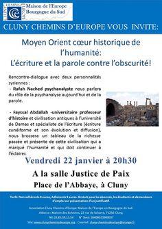 Débat sur la Syrie le 22 janvier 2016 à Cluny.