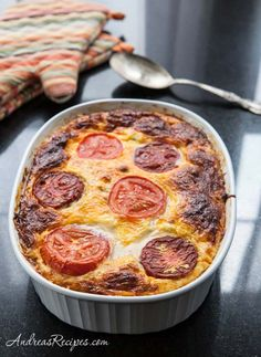 Egg and Cheese Casserole with Feta, Spinach, Mushrooms, Peppers, and Tomatoes.
