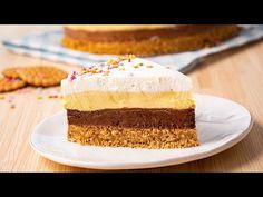 Tort Kinder fara coacere • Gustoase.net No Cook Desserts, Dessert Recipes, Romanian Desserts, Vanilla Cake, Nutella, Biscuit, Sweet Tooth, Cheesecake, Deserts