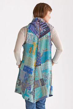 Kantha Patchwork Vest by Mieko Mintz (Cotton Vest) | Artful Home
