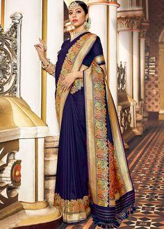 Navy Blue Art Silk Woven Saree With Blouse Blue Silk Saree, Art Silk Sarees, Banarasi Sarees, Indian Designer Sarees, Designer Sarees Online, Indian Sarees, Wedding Sarees Online, Saree Wedding, Bridal Sarees