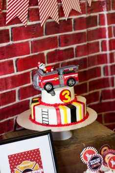 Firetruck birthday party cake! See more party ideas at CatchMyParty.com!