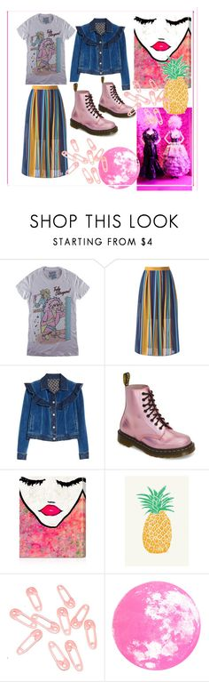 """""""Untitled #149"""" by cutiepiegothdoll-1 ❤ liked on Polyvore featuring JEM, Rebecca Taylor, Dr. Martens, Oliver Gal Artist Co., Tracie Andrews, Punky Pins and MyFaveTshirt"""