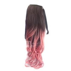 24 Inch  Ombre Colorful Ponytail Body Wavy Black/Pink 1 Piece love it