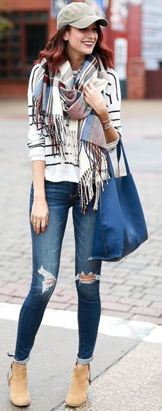 The Miller Affect Fringed Plaid On Stripes Fall Street Style women fashion outfit clothing stylish apparel @roressclothes closet ideas